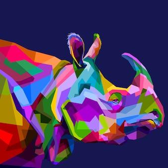 Rhinocéros coloré sur le pop art