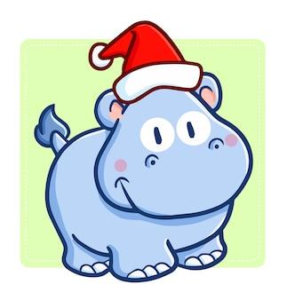 Rhinocéros de dessin animé de noël