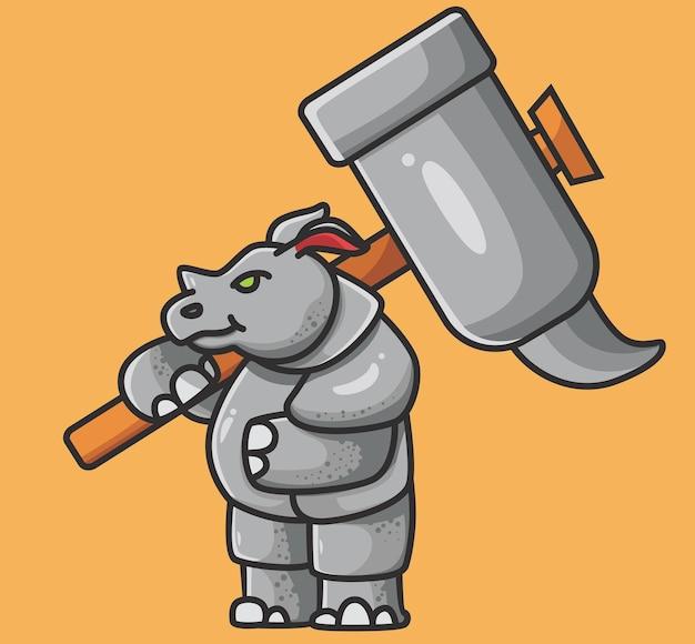 Rhinocéros fort mignon tenant un marteau rhinocéros mignon avec une peau épaisse vecteur animal de dessin animé