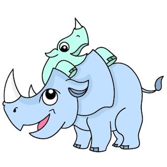 Des rhinocéros jouant avec leurs oursons avec des visages souriants heureux, doodle dessiner kawaii. illustration vectorielle