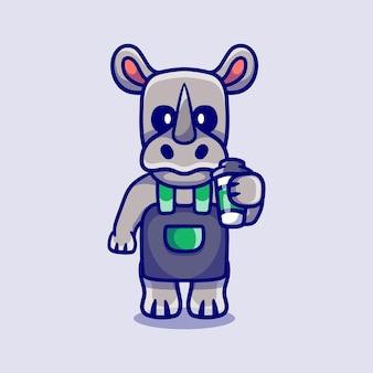 Rhinocéros mignon barista tenant du café