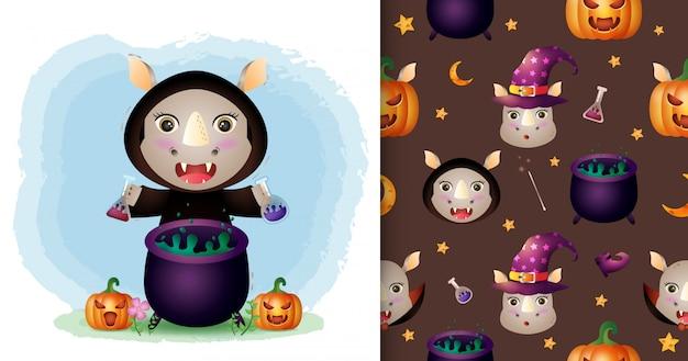 Un rhinocéros mignon avec une collection de personnages halloween costume de sorcière. modèles sans couture et illustrations