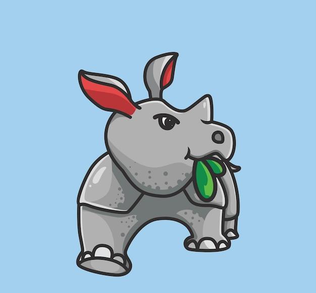 Rhinocéros mignon mangeant un concept de nature animale de dessin animé de feuille illustration isolée style plat