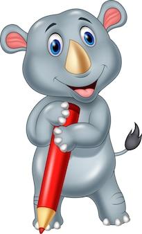 Rhinocéros mignon tenant un crayon rouge