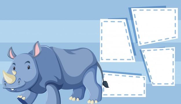 Un rhinocéros sur un modèle vierge