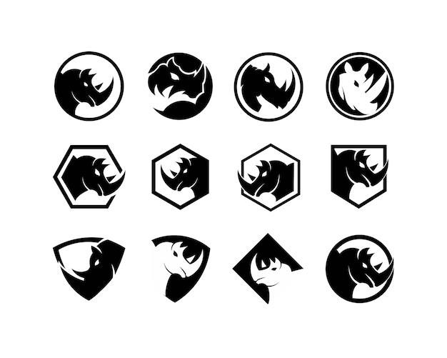 Rhinocéros vector illustration de silhouette isolé