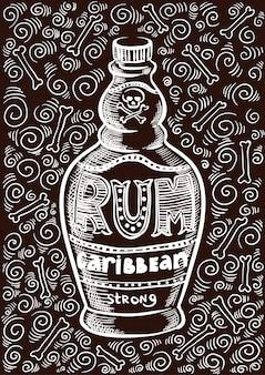 Rhum bouteille rétro ancienne illustration de conception vintage