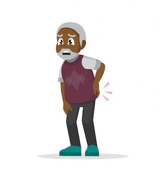 Rhumatisme. mal au dos. grand-père se tient le dos.