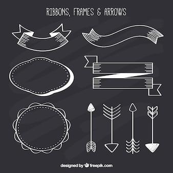 Ribbond, cadres et collection de flèches dans le style de tableau