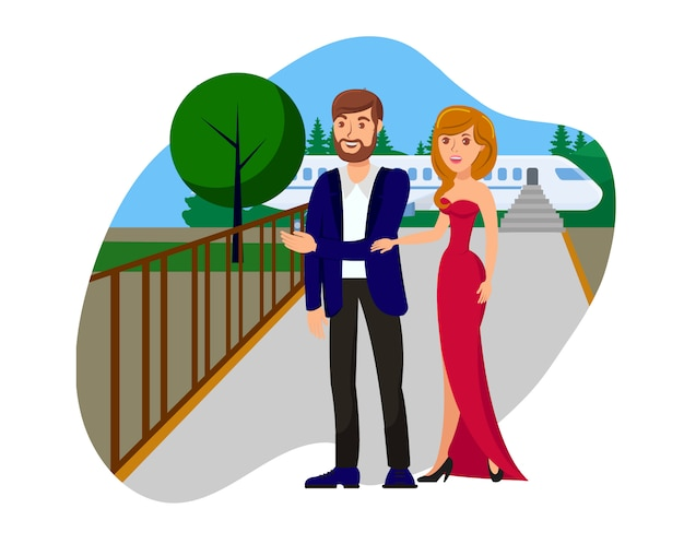 Riche couple plat bande dessinée illustration vectorielle