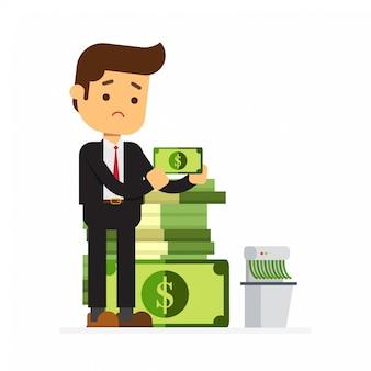 Riche, homme affaires, déchiquetage, argent