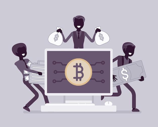 Richesse en crypto-monnaie. hommes d'affaires, commerçants de crypto-monnaie et investisseurs, succès commercial de la blockchain avec de l'argent virtuel et numérique. illustration de dessin animé de style plat et ligne art vectoriel, silhouette noire