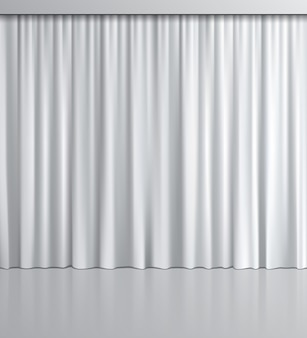 Rideau blanc réaliste avec reflet miroir.