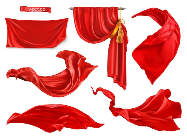 Rideau rouge. ensemble réaliste