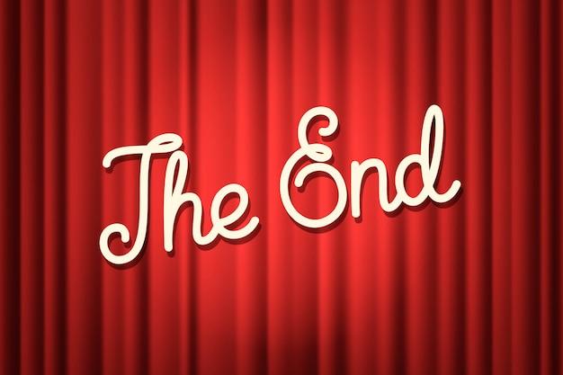 Rideau de scène rouge avec le texte de fin avec un filet de dégradé
