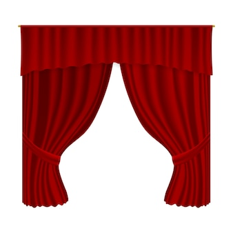 Rideau de théâtre. draperie de décoration textile velours réaliste. décor intérieur de scène de théâtre de rideau rouge ouvert de luxe, première et culture