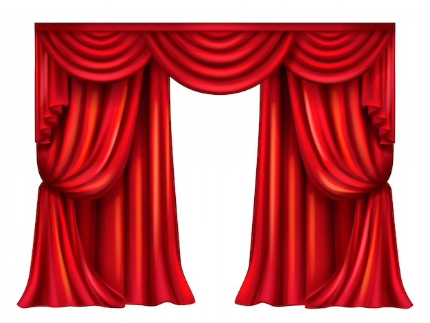 Rideau de théâtre en soie, velours avec plis isolé sur fond blanc.