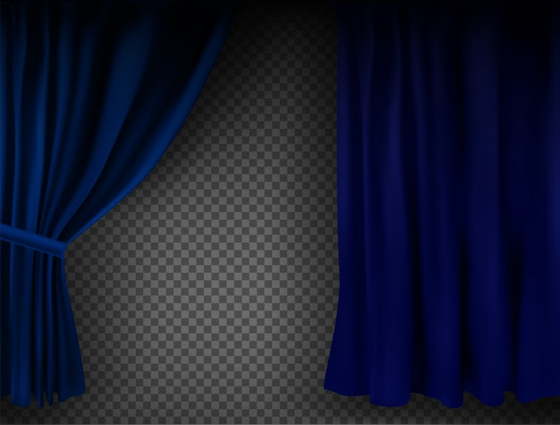 Rideau de velours bleu coloré réaliste plié sur un fond transparent. option rideau à la maison au cinéma. illustration vectorielle