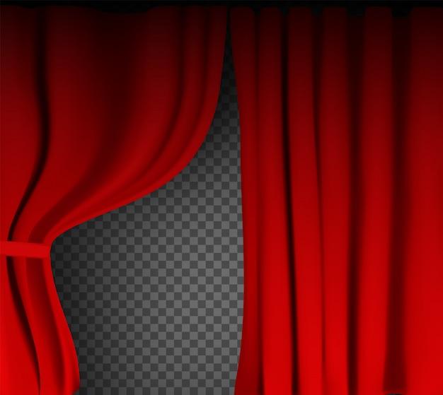 Rideau de velours rouge coloré réaliste plié sur un fond transparent. option rideau à la maison au cinéma.