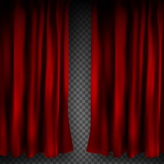 Rideau de velours rouge coloré réaliste plié sur un fond transparent. option rideau à la maison au cinéma. .