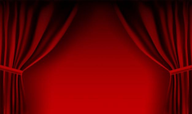 Rideau de velours rouge coloré réaliste plié. option rideau à la maison au cinéma