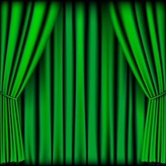 Rideau vert pour le fond