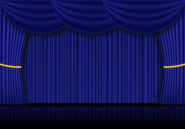 Rideaux bleus rideaux d'opéra, de cinéma ou de théâtre. pleins feux sur l'arrière-plan des rideaux de velours fermés. illustration vectorielle