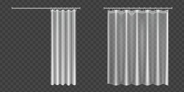 Rideaux de douche transparents ouverts et fermés