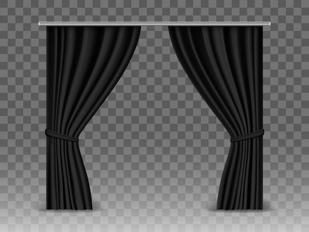 Rideaux noirs isolés sur fond transparent. rideaux réalistes suspendus à une tige métallique