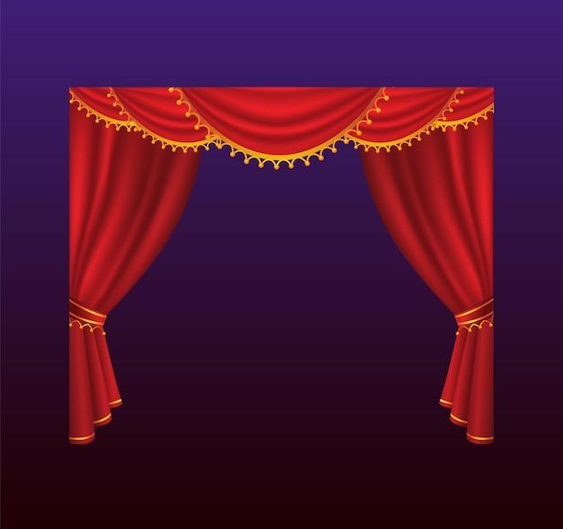Rideaux - rideaux rouges vectoriels réalistes. fond dégradé. clip art de haute qualité pour les présentations, les bannières et les dépliants, représentant des illustrations de cinéma, de concert et de prix.