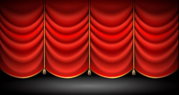 Rideaux rouges fermés avec avec des cordes et des glands d'or stand up fond de spectacle d'opéra ou de théâtre