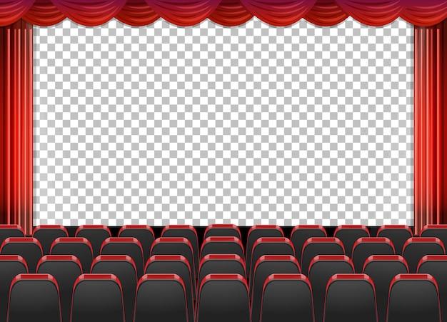 Rideaux rouges en théâtre avec fond transparent