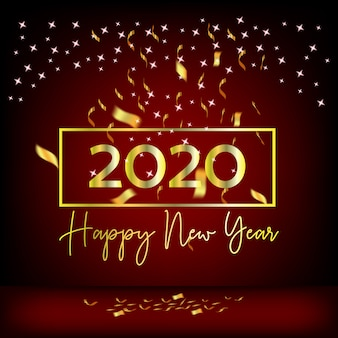 Rideaux et rubans rouges design nouvel an 2020 doré
