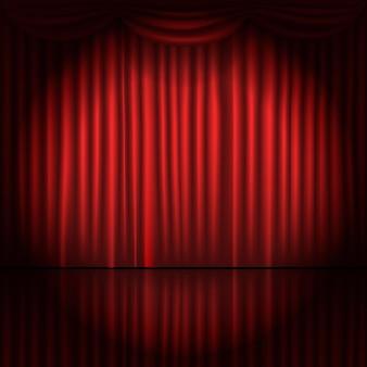 Rideaux de scène avec illustration vectorielle spot lumineux