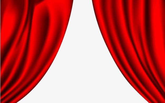 Rideaux de soie couleurs rouges isolés sur fond blanc