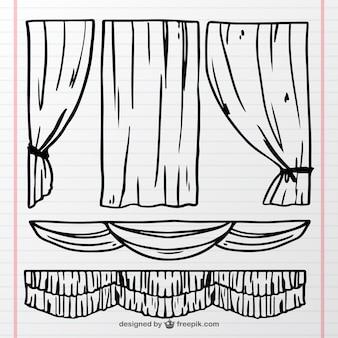 Rideaux de théâtre décoratifs dans le style dessiné à la main