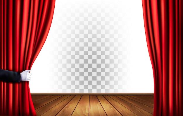 Rideaux de théâtre avec un fond transparent. vecteur.