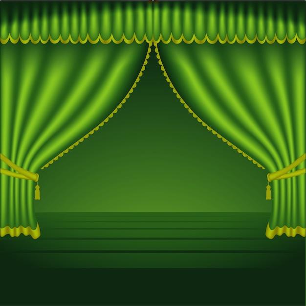 Rideaux de théâtre verts