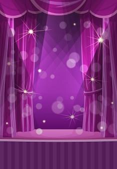 Rideaux violets sur scène, cirque ou théâtre, scène vectorielle vide avec drapé. portière ouverte dans les coulisses, projecteurs et étincelles. scène d'opéra de dessin animé, concert ou spectacle d'inauguration du cinéma