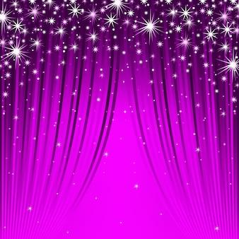 Rideaux violets avec des stries et fond d'étoiles scintillantes