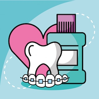 Rince-bouche dent et orthodontie amour dentisterie