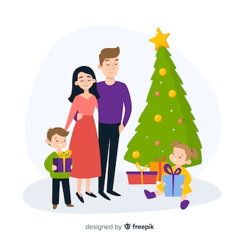 Rire famille fond noël