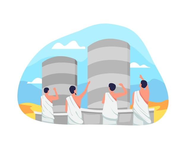 Rituel jamarat dans l'illustration du hajj. effectue la lapidation symbolique du diable en lançant des pierres sur le pilier. jamarat, l'une des étapes sacrées du pèlerinage de l'islam. illustration vectorielle dans un style plat