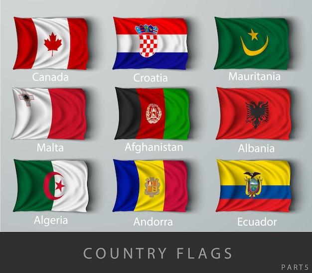 Riveté le drapeau du pays froissé d'ombres