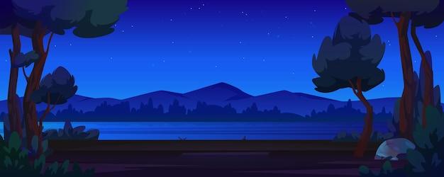 Rivière banque nuit forêt et montagnes cartoon style fond vecteur ciel sombre tourisme d'été