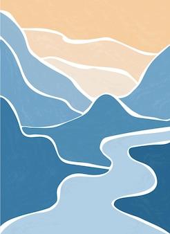 Rivière de montagne. paysage abstrait, minimalisme.