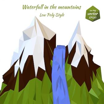 Rivière de montagne paysage et sommets enneigés