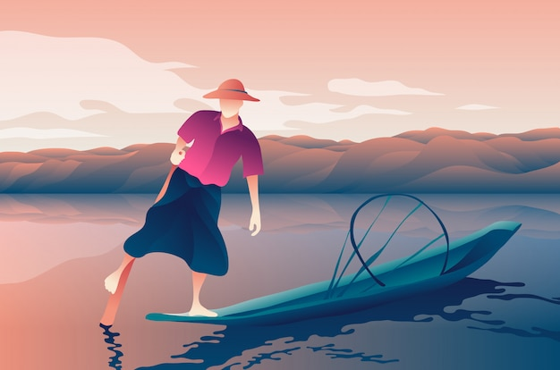 Rivière de pêcheur asiatique