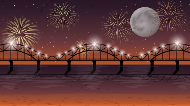 Rivière avec scène de feux d'artifice de célébration
