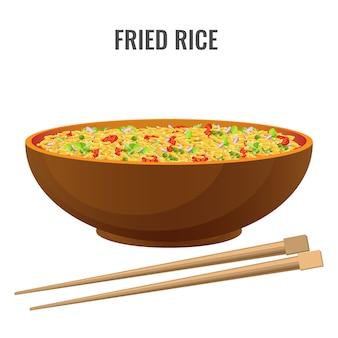 Riz frit épicé de recette asiatique